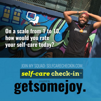 Pictured: Alex Hardy, cofounder of GetSomeJoy on one of selfcarecheckin.com's shareable social media prompts.